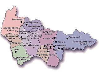 Карта ХМАО-Югра