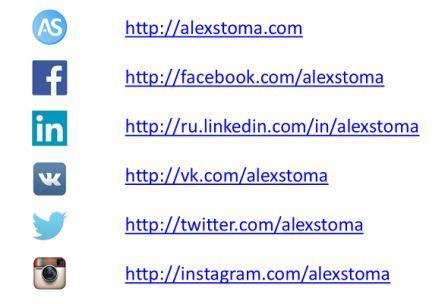 Профиль Александра Стома в различных социальных сетях